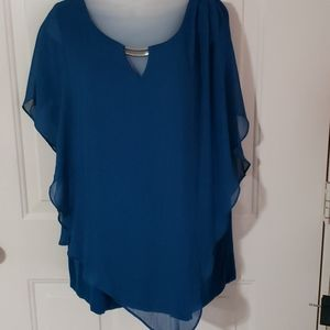 Blue blouse with silver bar trim